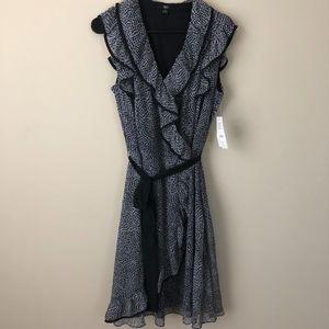 J.B.S. Black & White Printed Ruffle Front Dress